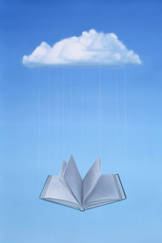 New,Meaning,(print),oil painting, surreal painting, book, cloud, sky, hanging book