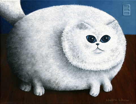 Fat,Cat,(original),cat, fat cat, fun, cat painting, cat print
