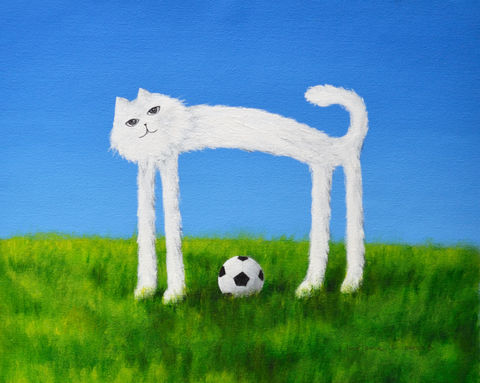 Skinny,Cat,Plays,Soccer,(print),cat, skinny cat, nature, flowers, cat painting, cat print, soccer, soccer ball