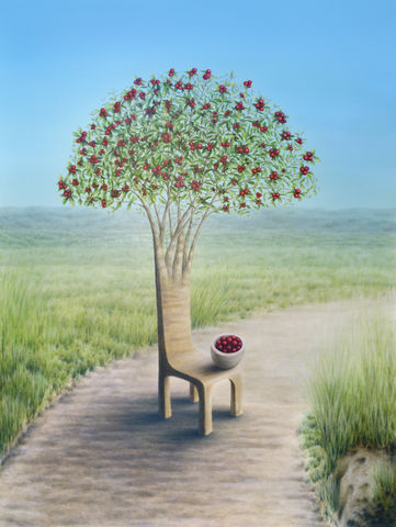 New,Harvest,Happiness,(original),strawberry guava, tree, surreal chair, surreal tree, red fruits
