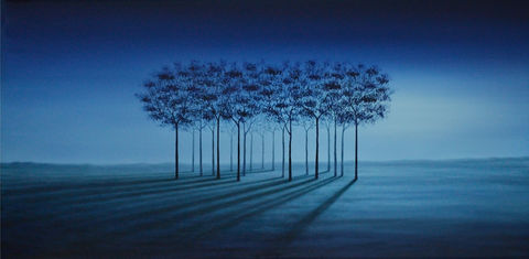 Peaceful,Perspectives,(print),surreal painting, surreal, nature, trees, blue trees, dawn, landscape