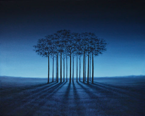 Inspired,by,the,Trees,(original),trees, surreal, landscape, blue, sky, dawn, sunrise, sunset, nature