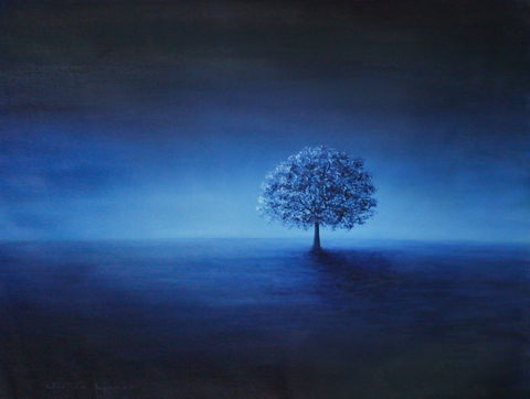 Hope,and,Peace,(original-unstretched,canvas),hope, peace, blue, tree, dawn, sunset, sunrise, landscape, nature