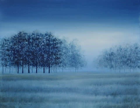 Angel,Trees,(original),landscape, blue landscape, trees, surreal, fog, dawn, sunrise