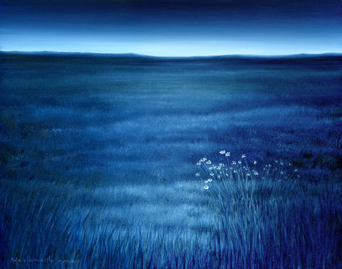 Blue,Prairie,(print),surreal painting, nature, dawn, landscape, blue, sky, white flowers, grass