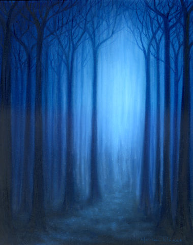 Forest,Whispers,(original),forest, trees, blue, light, nature