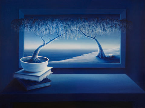 Natural,Meaning,(original),trees, bonsai tree, books, blue, water, dark