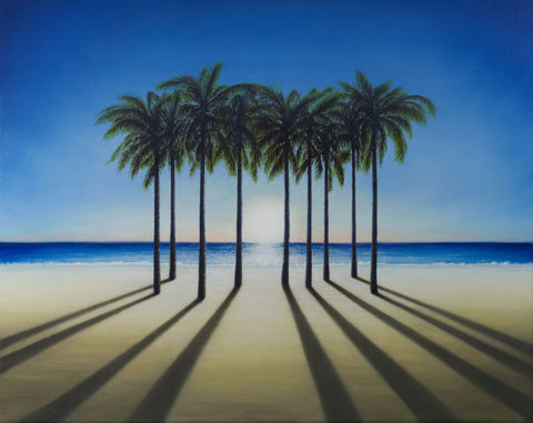 After,Sunrise,(original),beach, palm trees, sun, light, sunrise, sky, ocean