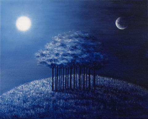 Day,and,Night,(original),trees, blue, sky, nature, sun, moon, dawn, shadows, prairie