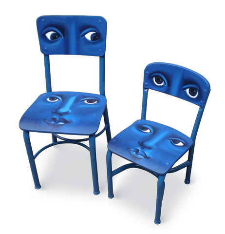 Faces,on,Chairs,(original,hand,painted,chairs),surreal furniture, painted furniture, blue chairs, faces on chairs