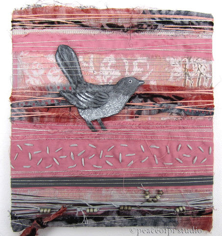 Silver,Grey,Bird,Wrapped,Fabric,Collage,bird, collage, mixed media, painted, fabric, hand embroidery, pink, grey, gray, silver, beads, wrapped, beading, paint, stitched, craft, handmade, textile art
