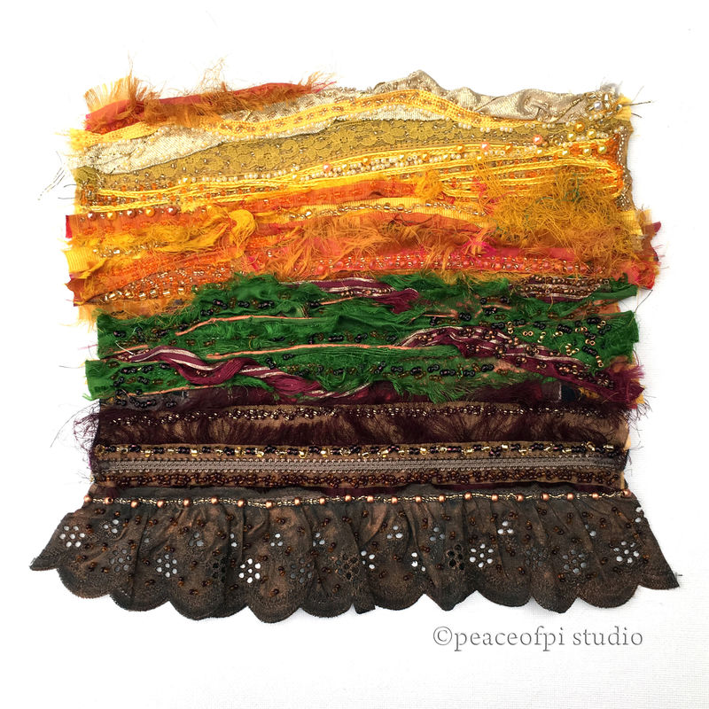 Abstract Landscape Beaded Art Quilt - product images  of