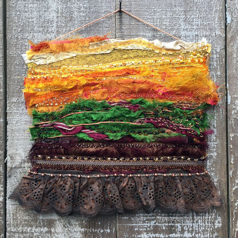 Abstract,Landscape,Beaded,Art,Quilt,silk, art quilt, beading, beaded, hand beaded, abstract, landscape, meadow, sky, garden, fabric, fiber art, fibre art, mini quilt, wall hanging, wall art, yellow, brown, green, burgundy