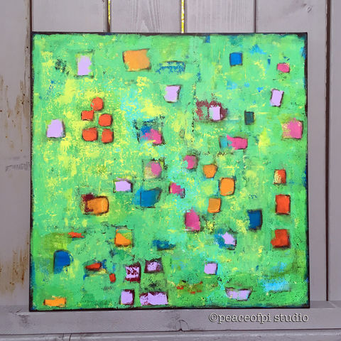 Green,Geometric,Squares,Original,Abstract,Painting,abstract, painting, canvas, acrylic, square, confetti, green, original, palette knife, modern, paint, geometric, semi-abstract, textured