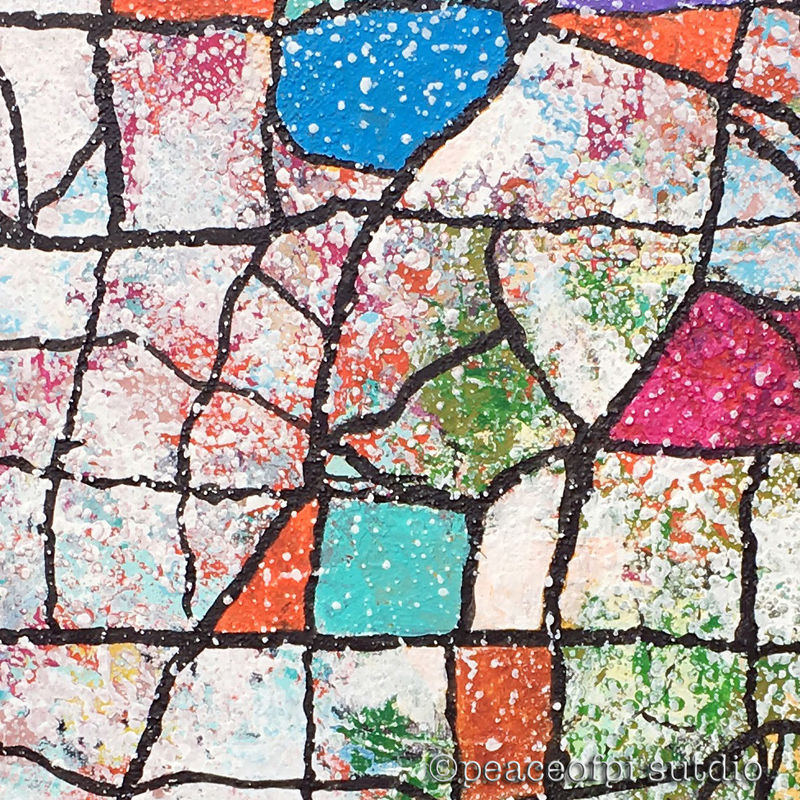 Mosaic Map Original Abstract Textured Painting - product images  of