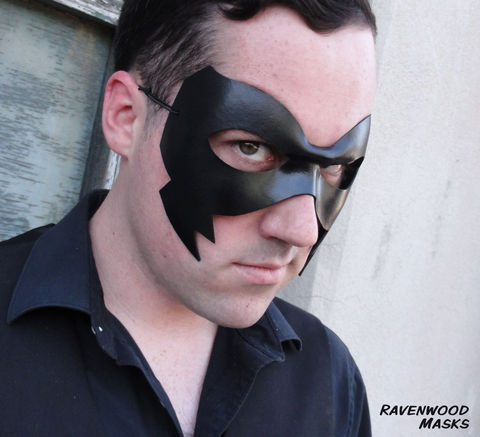 Crow,-,leather,mask,black mask, red mist, kick ass, leathermask, masquerade, masquerade ball, fancy dress party, masquerade mask for men, black and white ball, mardi gras mask, halloween mask