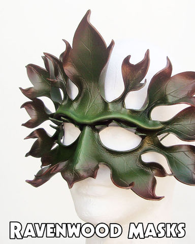 Greenman,-,leather,mask,Costume,Mask,pagan,wicca,fantasy,clothing,costume,cccoe_team,spring_autumn_fall,equinox_ostara,litha_beltaine,leaf_mask,forest,acrylic_paint,elastic_cord,nontoxic_varnish