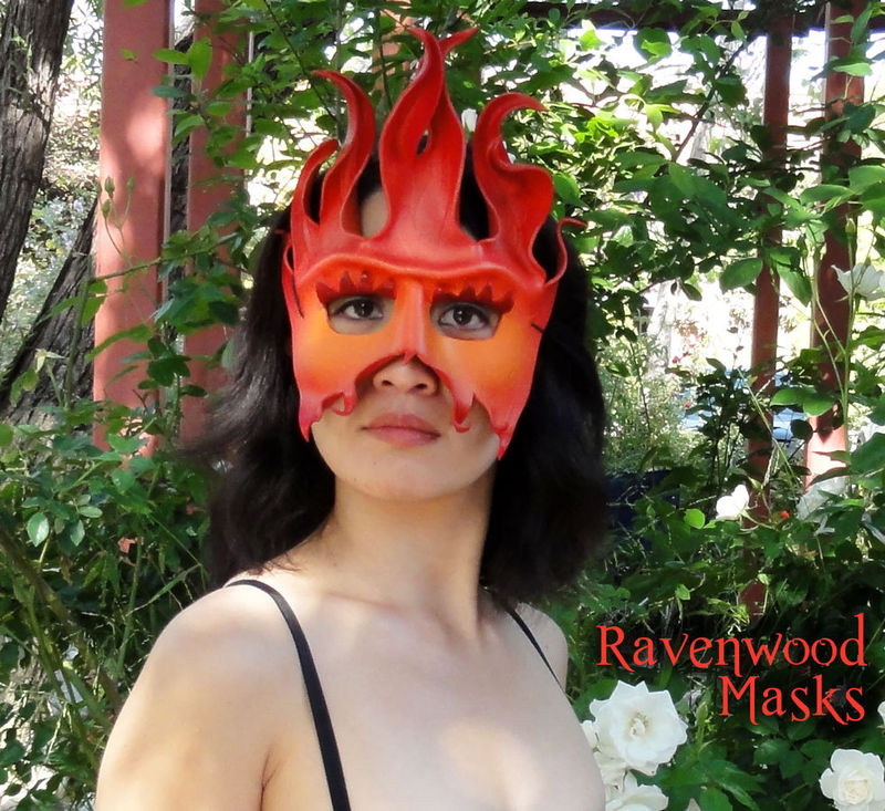 Fire - leather masquerade mask - product images  of