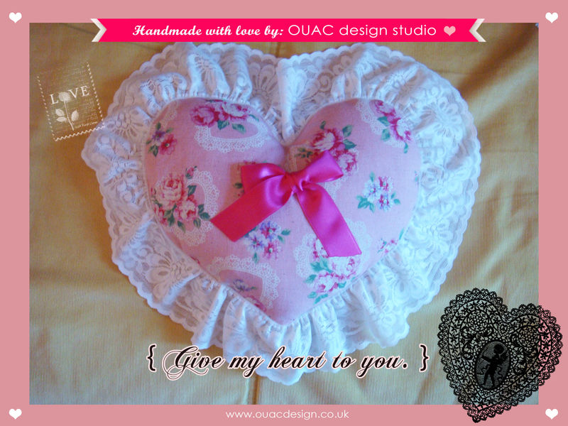 Give My Heart To You (Part.1) - Sweet Heart Pink Roses Violace Heart Print with Lace Heartshape Pillow/Cushion. Free UK Delivery - product images  of