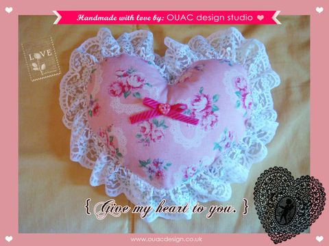 Give,My,Heart,To,You,(Part.,2),-,Sweet,Pink,Roses,Violace,Print,with,Lace,Heartshape,Pillow/Cushion.,Free,UK,Delivery,valentine's gift, valentine, pillow, valentine special, cushion, for her, lace, rose, heartshape, heart, pink, home
