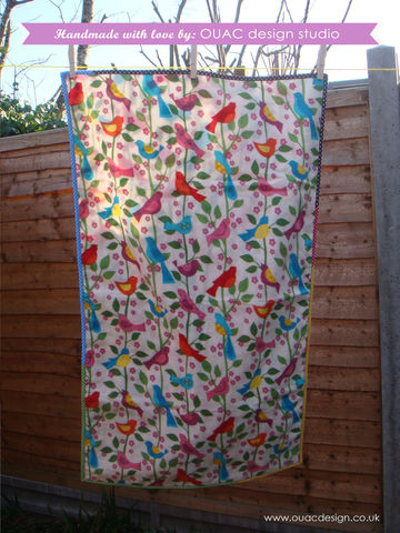 Spring,Collection,-,Super,Comfy,and,Cute,Birdy,Baby,Blanket,or,throw,,FREE,UK,Delivery,Baby blanket, throw, baby, flannel, blanket, bird, dotty binding