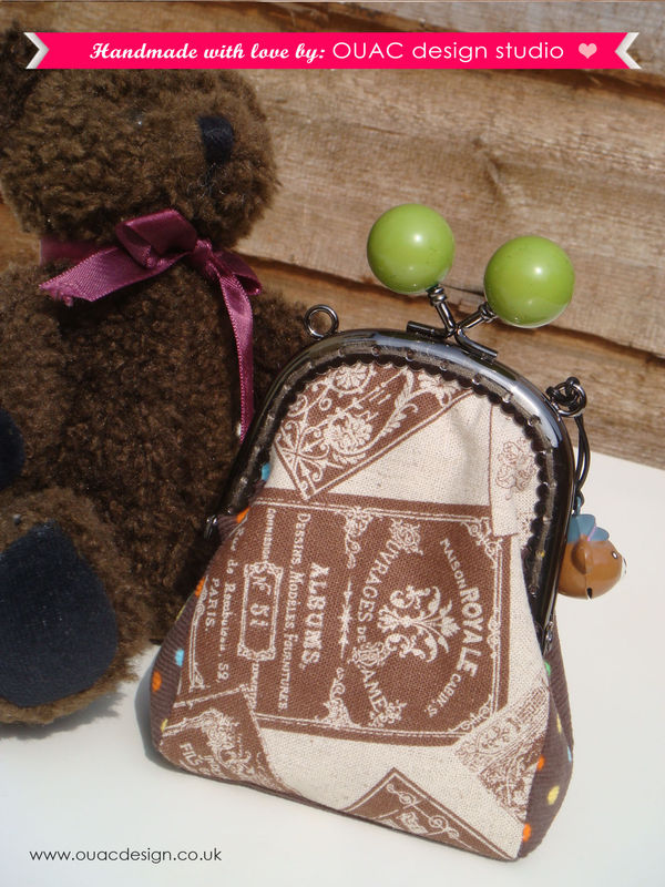 Cute Little Purse for your coins - Brown Vintage Labels Print, Colourful Dotty Brown Cord with Teddy Bear Bell. FREE UK Delivery - product images  of