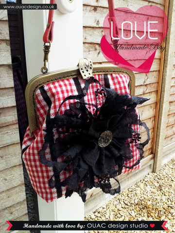 Black,Lace,Flower,Retro,Chic,Purse,with,leather,handle,(Red/Black).,Free,UK,Delivery, Chic, Purse, retro chic purse, vintage, lady, cute, bag, leather, leather handle, lace flower