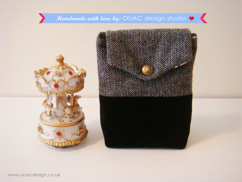 Winter Collection - Luxury Ladylike Winter Black Silk Tweed and Black velvet Small Bag with Gorgeous Rose Button. Free UK Delivery - product images  of