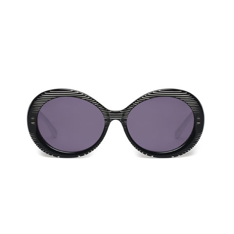 Black,Stripe,Oval,Frame,Sunglasses,Heidi London,Oval Frame Sunglasses