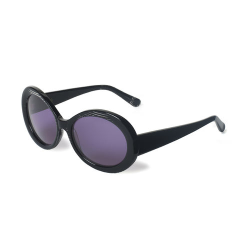 Black Stripe Oval Frame Sunglasses - product images  of