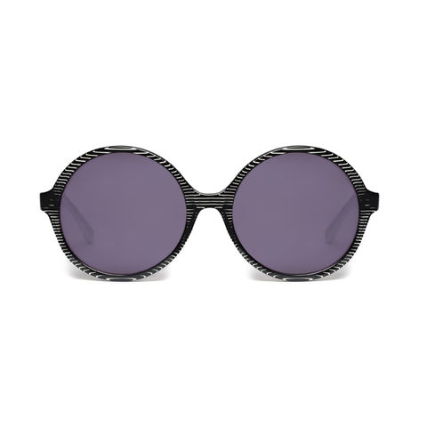 Black,Stripe,Circular,Frame,Sunglasses,Heidi London, Black Stripe Circular Frame Sunglasses