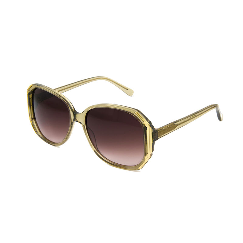 Olive Brown Hexagon Frame Sunglasses - product images  of