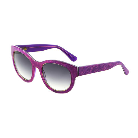Denim Print Square Frame Sunglasses - Fuchsia - product images  of