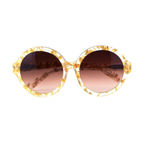 Pink Floral Circular Frame Sunglasses - product images  of
