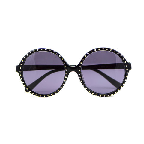 Studded,Circular,Frame,Sunglasses,Heidi London, Black Studded Circular Frame Sunglasses