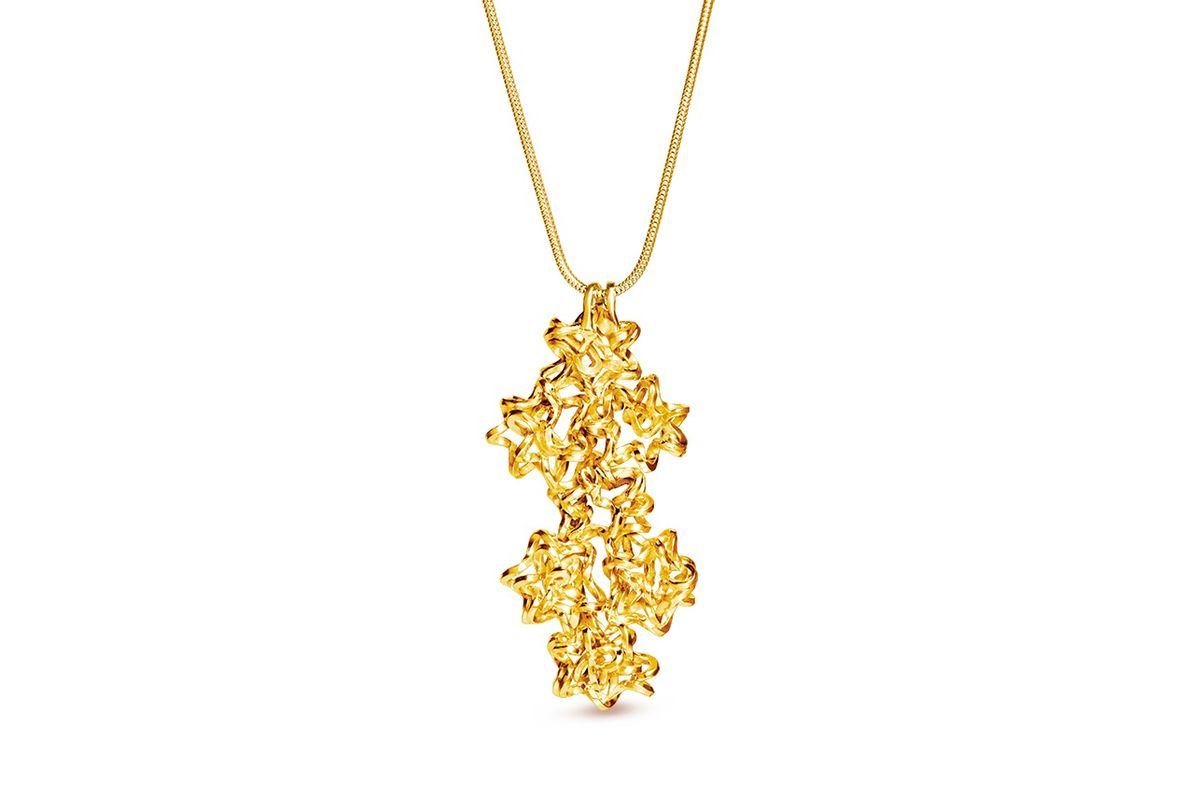 Handmade Multiple Foil Brunch Pendant Gold - product image