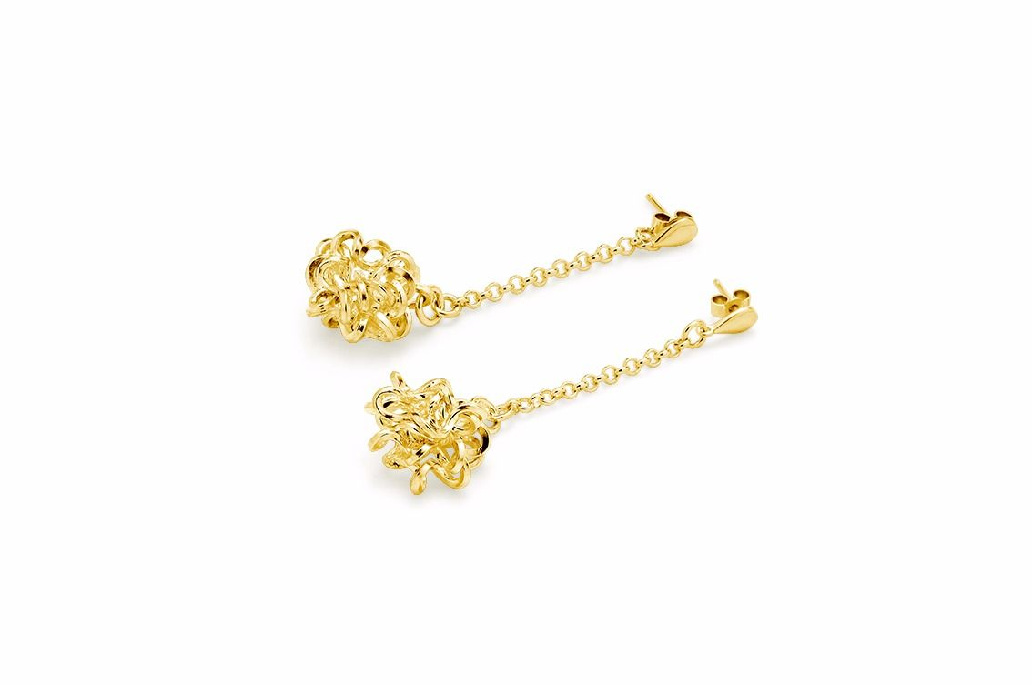 Handmade Foil Brunch Chain Earrings Gold - product image