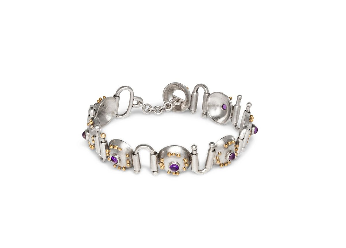 Sterling silver amethyst and 18ct gold bracelet -