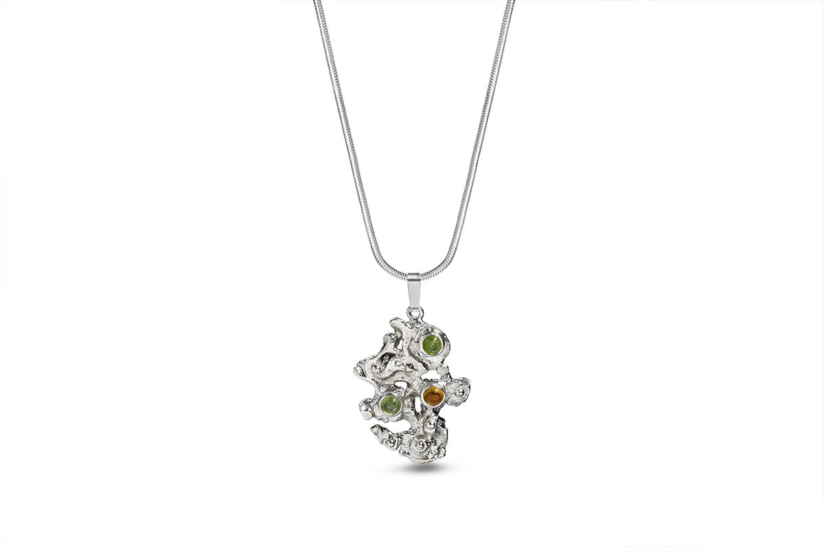 "Sterling silver peridot and citrine pendant - ""The mountain"" - product images  of"