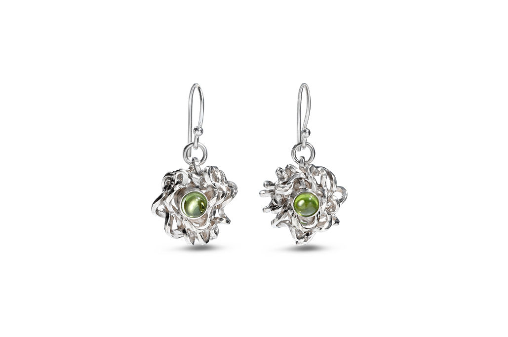 Sterling silver and peridot earrings -