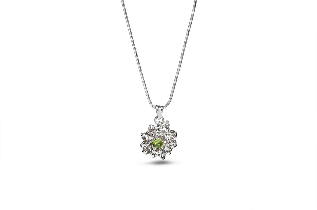 Sterling silver and peridot pendant -