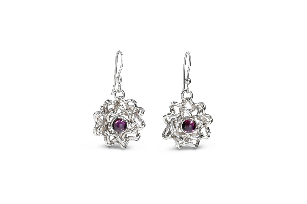 Sterling Silver And Rhodolite Garnet Earrings Foil Brunch Product