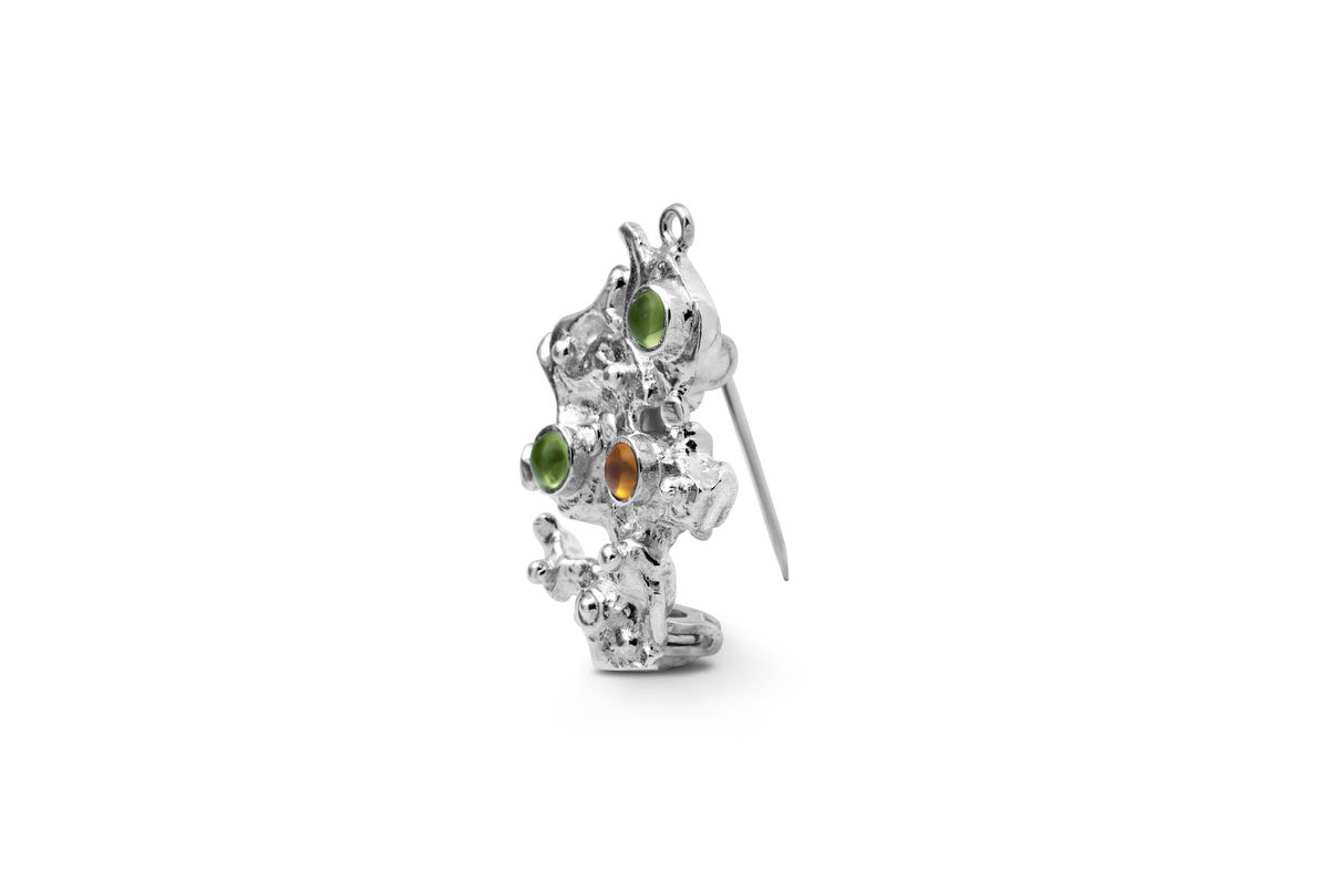 Sterling silver peridot and citrine brooch -