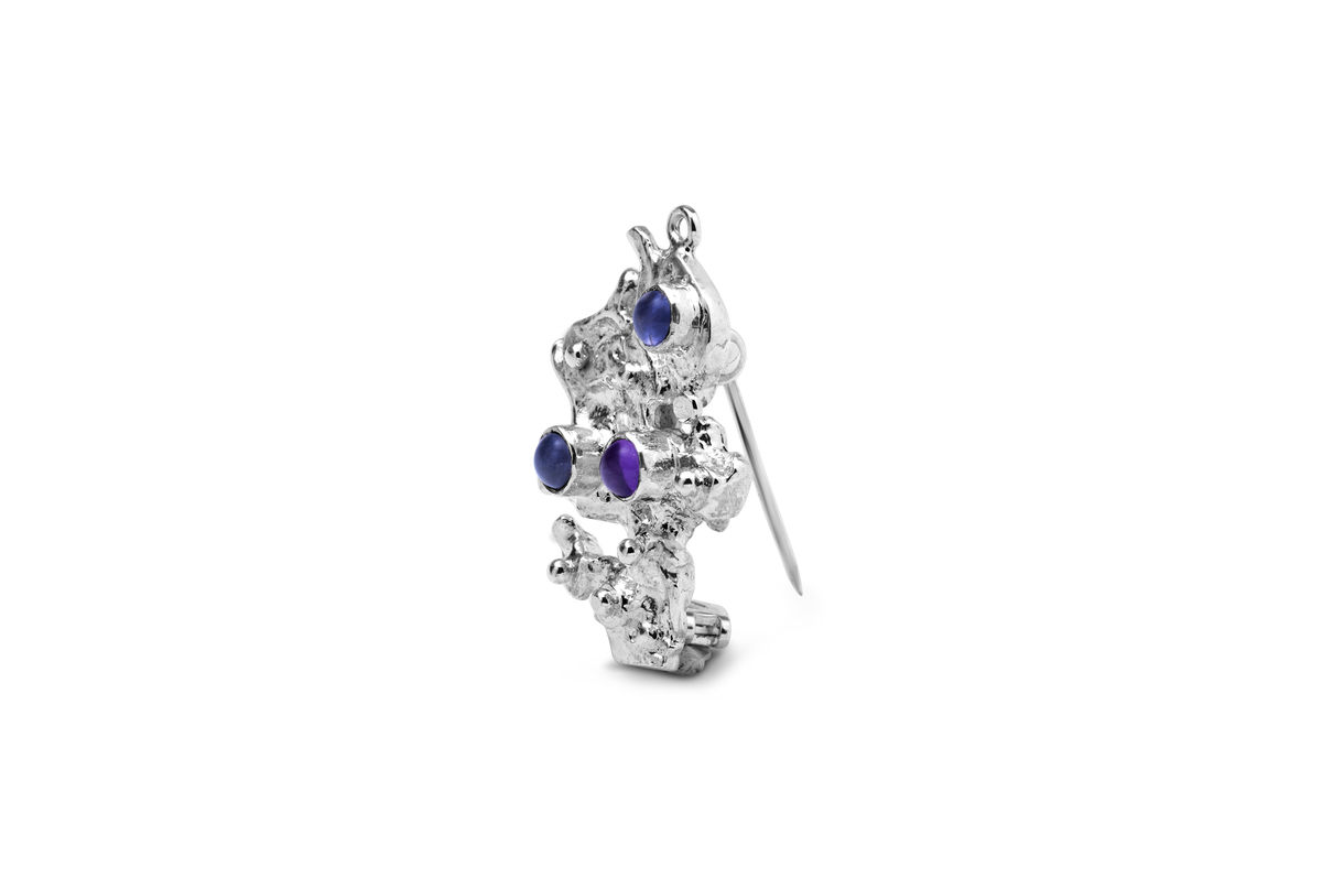 Sterling silver Iolite and amethyst brooch -