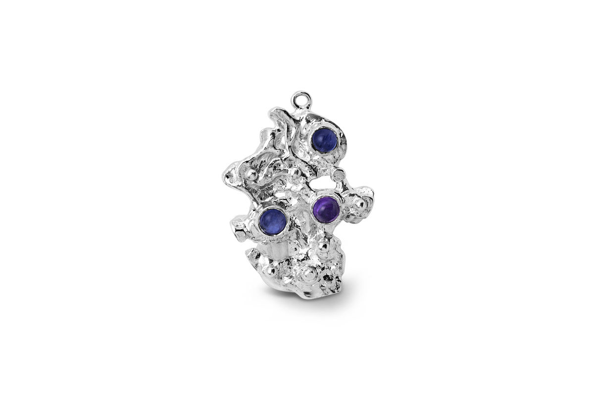 "Sterling silver Iolite and amethyst brooch - ""The mountain"" - product images  of"