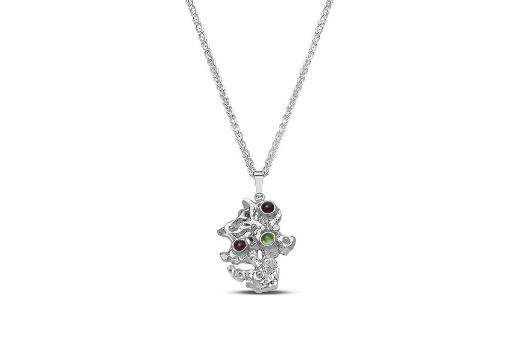 Sterling silver garnet and peridot pendant -