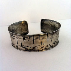 Unisex Sterling Silver Cuff Made to Order - Birch - Free Shipping - product images 2 of 3