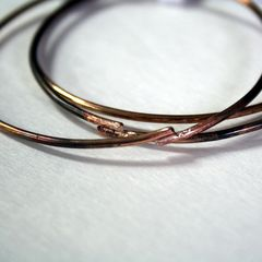 Three Bronze Bangles Free Shipping Made to Order - product images 1 of 4