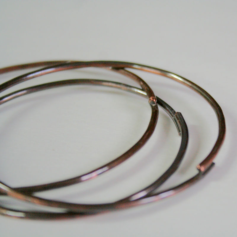 3 Rustic Copper Bangles Free Shipping - product images  of