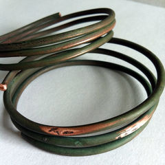 Encircled 3 Unisex Upcycled Eco-Friendly Vintage Copper Wire Bangle - product images 1 of 3